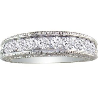 1/4ct Antique Style Diamond Band in 10k White Gold