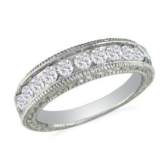 1/2ct Antique Style Diamond Band in 10k White Gold
