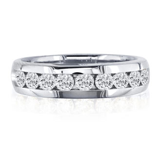 1ct Diamond Heavy Men's Band in 14k White Gold