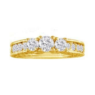 1/2ct Antique Model Three Diamond Plus Ring in Yellow Gold SZ7-7.5 CLEARANCE