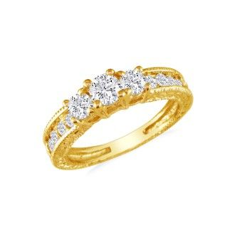 Gorgeous 1ct Antique Style Three Diamond Plus Ring in 14k Yellow Gold SZ7.5 CLEARANCE