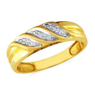 Three Row Mens Diamond Band in 10k Yellow Gold