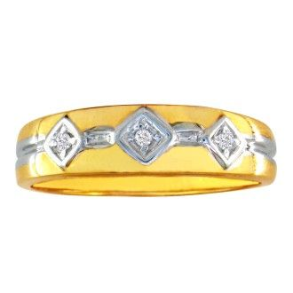 Mens Diamond Band in 10k Yellow Gold