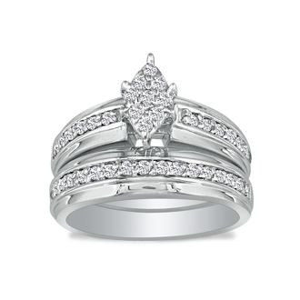 1/2ct Marquise Head Diamond Bridal Set in 10k White Gold