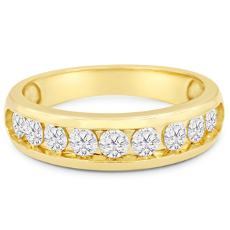 1ct Round Diamond Heavy Mens Wedding Band in 14k Yellow Gold