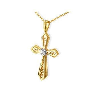 Filigree Diamond Cross Pendant in 10k Yellow Gold