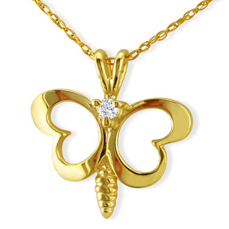 Cute Diamond Butterfly Pendant in 10k Yellow Gold
