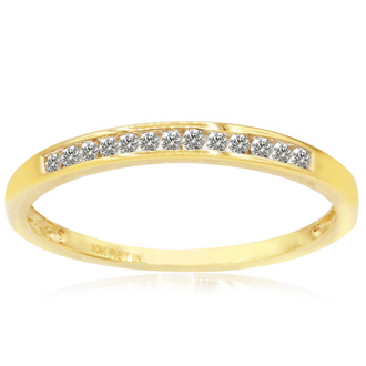Skinny 1/8ct Channel Set Diamond Band in 10k Yellow Gold