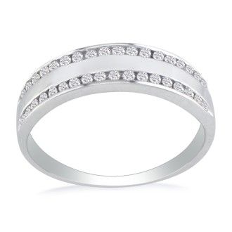 Wide 1/4ct Ladies Diamond Band in 10k White Gold. Sizes 3 to 5