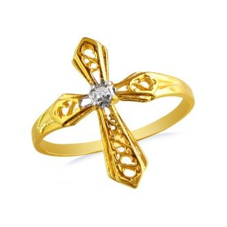 Diamond Cross Ring in Yellow Gold