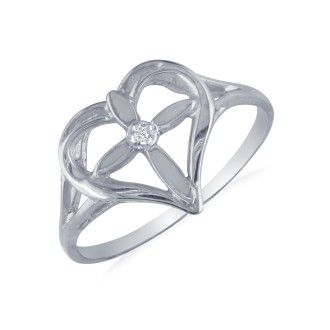 10k White Gold Filigree Diamond Cross Ring