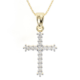 The Classic 1/4ct Diamond Cross Pendant in 10k Yellow Gold
