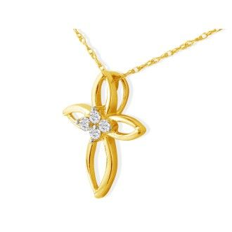 .10ct 4 Diamond Center Point Cross Pendant in 10k Yellow Gold