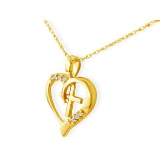 .03ct Cross in Heart Pendant in 10k Yellow Gold