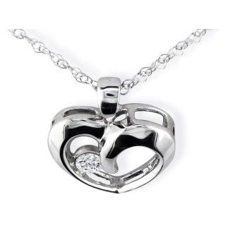 1/10ct Diamond Heart Pendant in 10k White Gold