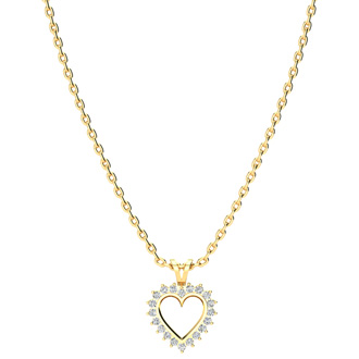 1/4 Carat Classic Diamond Heart Pendant in Yellow Gold