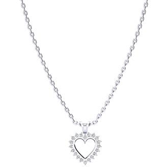 1/4 Carat Classic Diamond Heart Pendant in White Gold
