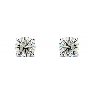1/4 Carat Diamond Stud Earrings In 14 Karat White Gold