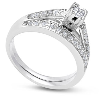 1/4ct Ladies Traditional Diamond Bridal Set in 10k White Gold