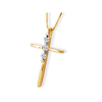 Three Round Diamond Cross Pendant in 10k Yellow Gold