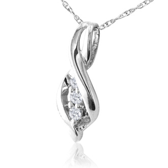 Three Diamond Swirl Pendant in 10k White Gold