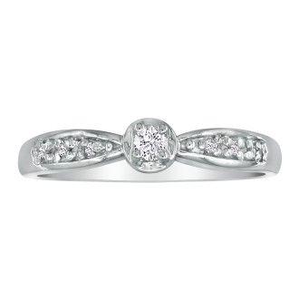 Mini Diamond Engagement Ring in 10k White Gold