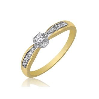 Mini Diamond Engagement Ring in 10k Yellow Gold