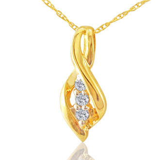 1/10ct Swirl Style Three Diamond Pendant in 10k Yellow Gold