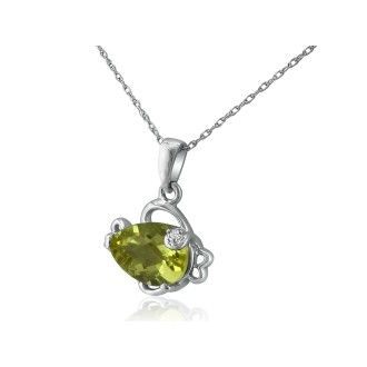 Lemon Quartz and Diamond Fish Pendant in 10k White Gold