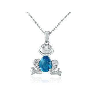 Ribbit! Blue Topaz and Diamond Frog Pendant in 10k White Gold