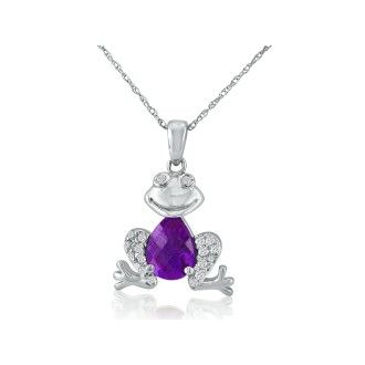 Ribbit! Amethyst and Diamond Frog Pendant in 10k White Gold