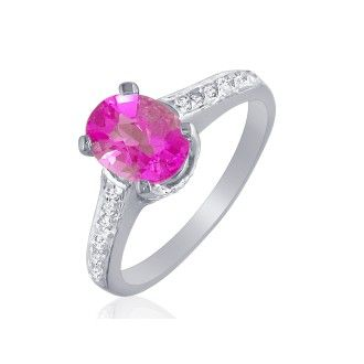1.60Ct Pink Topaz and Diamond Ring in 10k White Gold