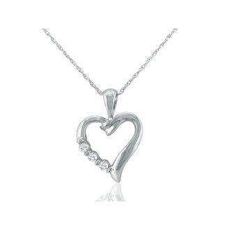 .08ct Three Diamond Heart Pendant in 10k White Gold