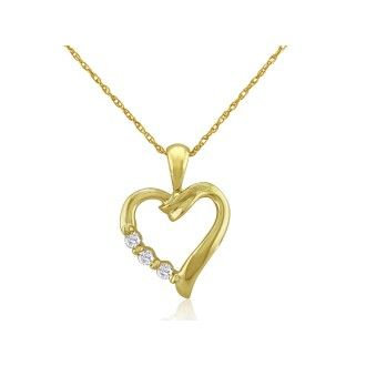 .08ct Three Diamond Heart Pendant in 10k Yellow Gold