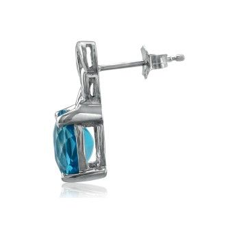 Open Chain Design 3ct Blue Topaz Earrings in 10k White Gold