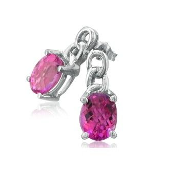 Open Chain Design 3ct Pink Topaz Earrings in 10k White Gold