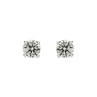 CLOSEOUT! 1 1/2 Carat Diamond Stud Earrings In 14 Karat White Gold