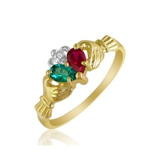 Emerald and Ruby Claddagh Ring in 10k Yellow Gold