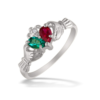 Emerald and Ruby Claddagh Ring in 10k White Gold