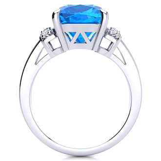 Large Blue Topaz and Diamond Ring in 10k White Gold