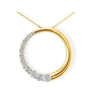 1ct Circle Style Journey Diamond Pendant in 14k Yellow Gold