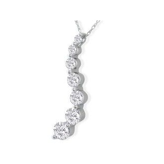 1ct 7 Diamond Journey Diamond Pendant 14k White Gold