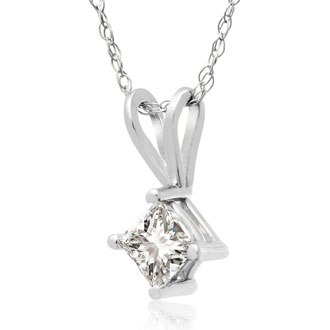 1/3ct Princess Diamond Pendant in 14k White Gold, Sale Priced.