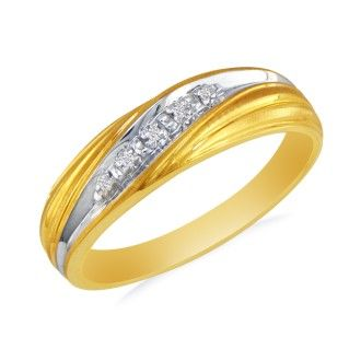 Men's Promise Ring with Five Diamonds in 10k Yellow Gold