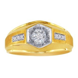 Men's Promise Ring with 7 Diamonds in 10k Yellow Gold