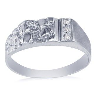 Nugget Style Men's Promise Ring with 3 Diamonds in 10k White Gold
