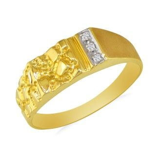 Nugget Style Men's Promise Ring with 3 Diamonds in 10k Yellow Gold