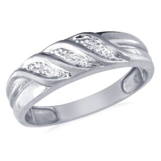 Men's Flowing Diamond Band in 10k White Gold