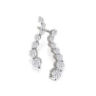1ct Journey Diamond Earrings in 14k White Gold