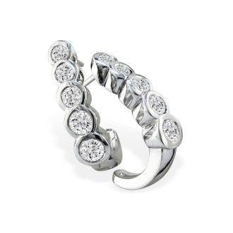 1/2ct Bezel Set Journey Diamond Hoop Earrings in 14k White Gold